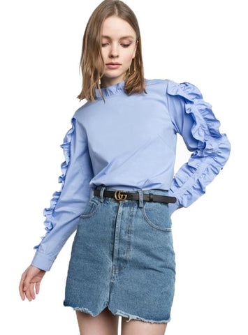 CASUAL RUFFLES FULL SLEEVE SOLID BLUE TOPS PREPPY
