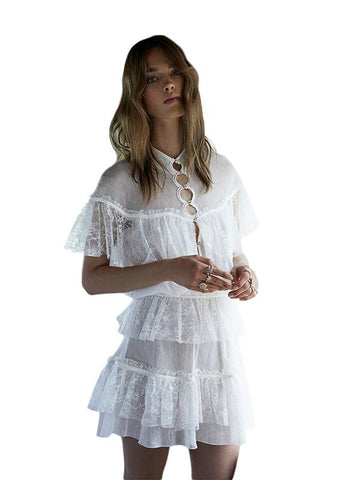 WHITE SWEET MINI DRESS MESH SHEER LACE PATCHWORK