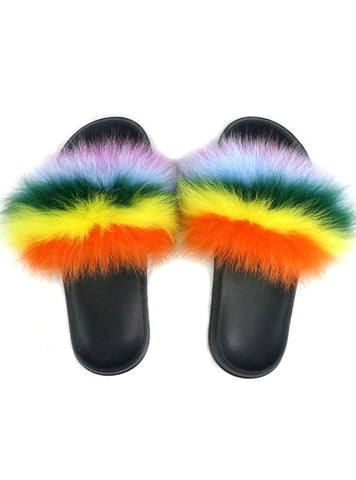 SLIPPERS LADY FUR FLIP FLOPS PLUSH SHOES