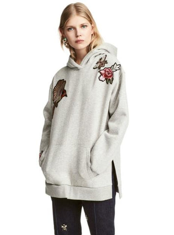 WOMEN GREY EMBROIDERY CASUAL SWEATSHIRTS SPLIT SIDE
