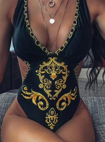 V NECK PRINT ONE PIECE BIKINI SWIMWEAR WOMEN