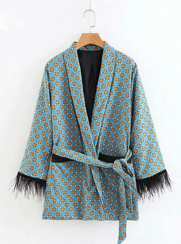 FASHION JACKET WOMEN KIMONO COAT BOW TIE SASHES