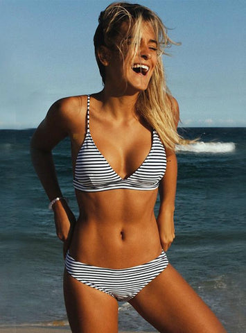 PADDED WOMEN SWIMSUIT STRIPED BATHING SUIT