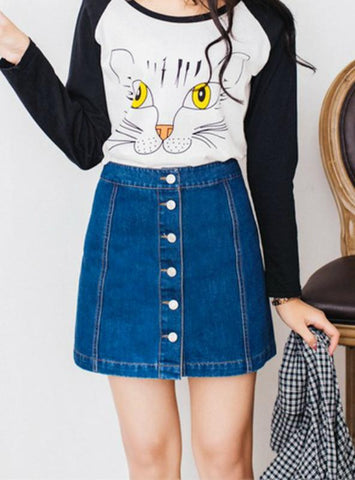 Pencil Jeans Skirt Front Button High Waist Denim Skirt