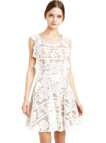 LACE MIDI DRESS BACKLESS SHEER SEXY A-LINE DRESS