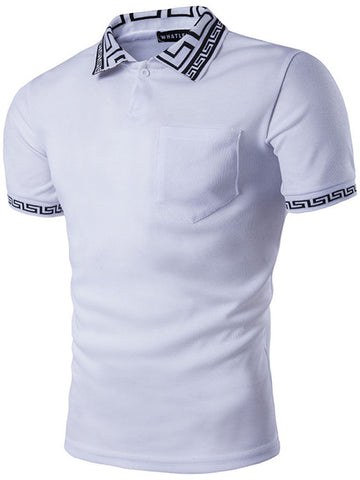 Cheap Polo Collar Patchwork Printed T-Shirts