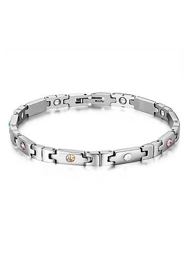 Fashion Puzzle with Multicolor AAA Zircons, Platinum Alloy Bracelet