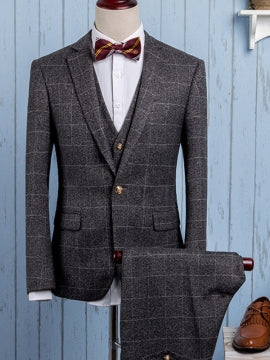 Formal Men's Large Check Suit with Three Pieces