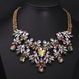 Decorated Water Drop Necklace Rhinestone Faux Gem