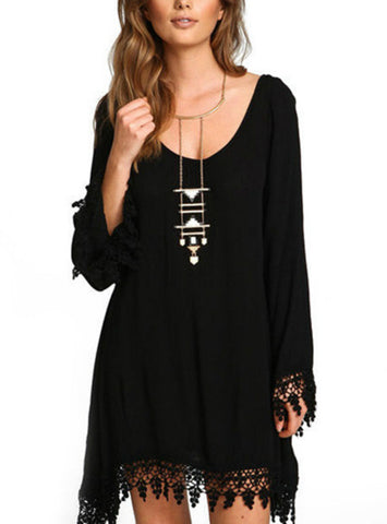 Women Casual Loose Long Sleeve Black Tassel Party Dress