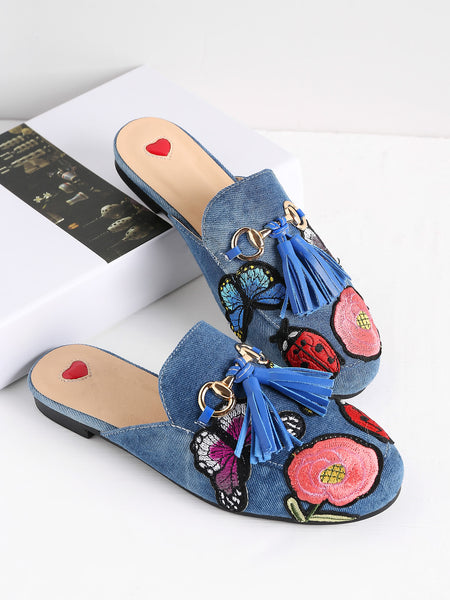 Fathion Embroidery Detail Tassel Embellished Loafer Mules