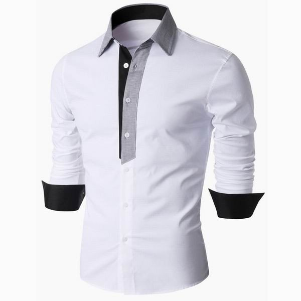 Long Sleeve Designer Shirts for Men Business Casual Solid Color Turn-Down Slim Fit