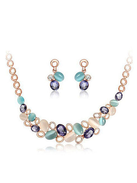 Fathion Multicolor Faux Stone Bib Necklace And Earring