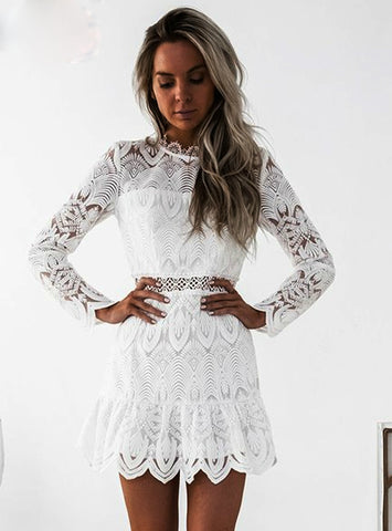 Sexy Hollow Out Black White Lace Dress Female Party Casual