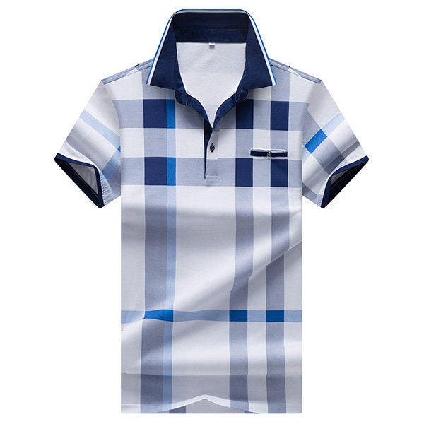 Printed Short Sleeve Casual Tops Summer Breathable Polo Shirt Plaid