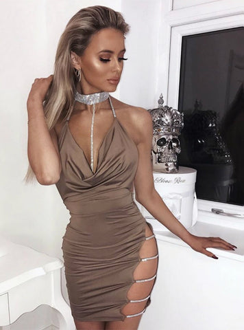 Halter Crystal Sequin Dress Backless Metallic Diamond