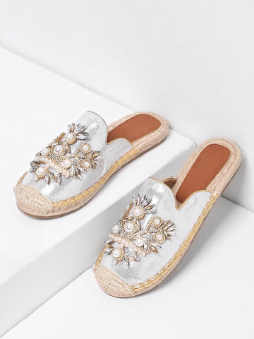 Cheap Faux Pearl Decorated Cap Toe PU Flats
