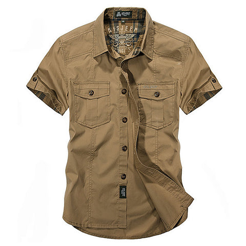 Multi Pockets Cargo Short Sleeve Dress Shirts for Men Outdoor Sport Cotton Breathable