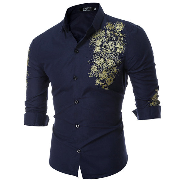 Designer Dress Shirt for Men Long Sleeve Printing Slim Fit Formal Casual Turn Down Collar