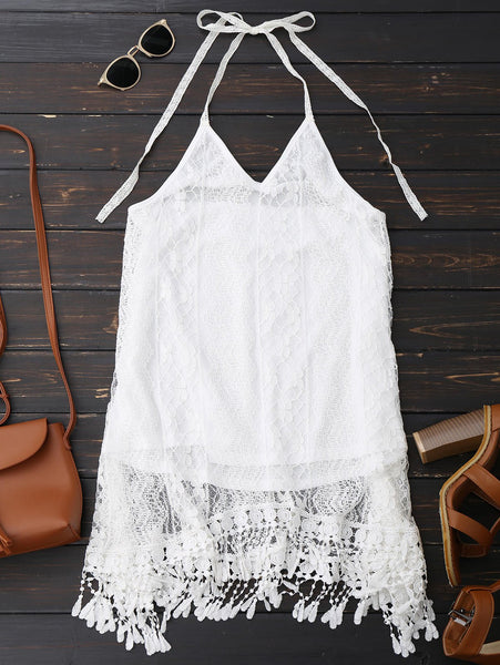 Halter Lace Fringed Backless Dress