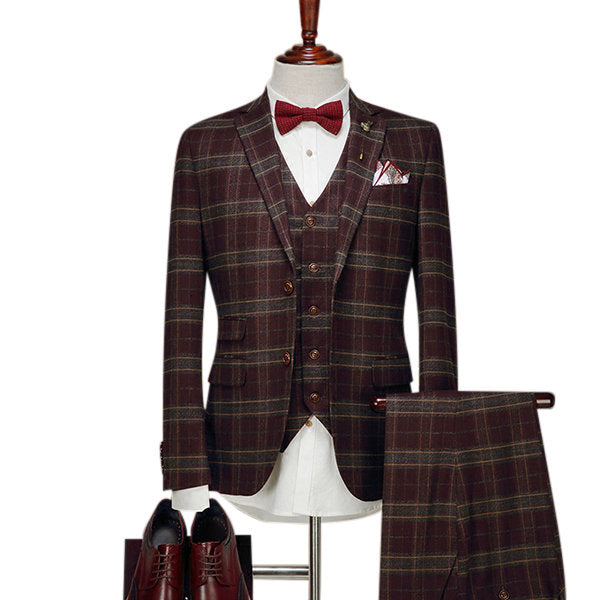 Wedding Dress Blazer Suit for Men Three Pieces Checked Slim Fit Formal