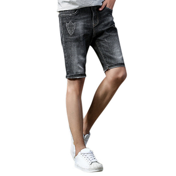 Shorts Stone Washed Printed Knee Length Hole Jeans Gray Casual Cotton