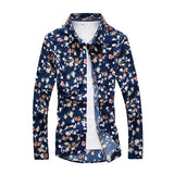Collar Long Sleeve Slim Fit Casual Shirts Mens Spring Fall Blue Floral Printing Turndown