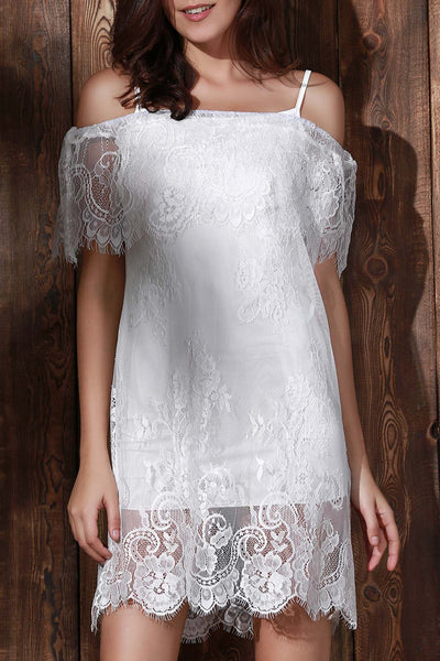 See-Through Off The Shoulder Lace Dress