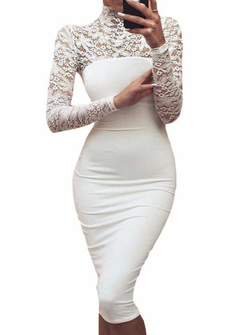 White Lace Dress New 2018 Winter Turtleneck Long Sleeve