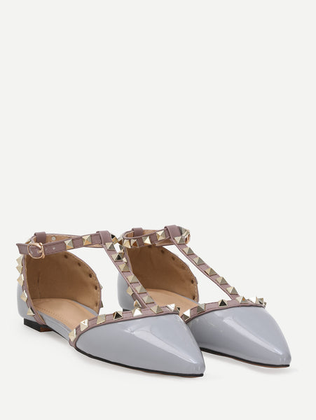 Cheap Grey Faux Patent Studded T-Strap Flats
