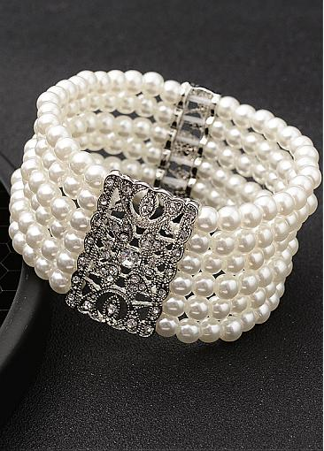 Fancy Bracelets With Rhinestones & Pearls Captivating Alloy