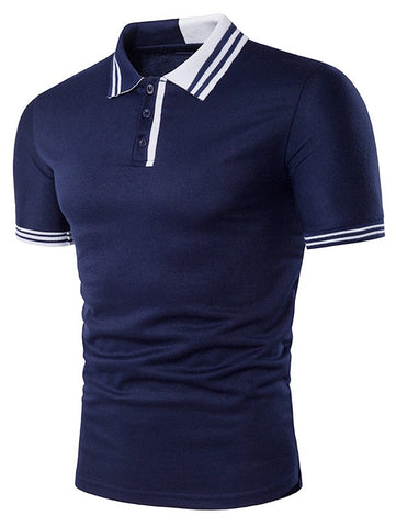 Cheap Color Block Stripe Rib Panel Polo T-Shirt