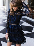 Self Portrait Blue White Lace Long Sleeve Dress