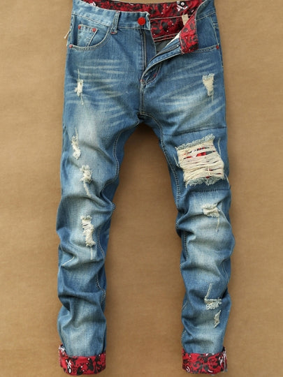 Cheap Men's Distressed Jeans with Mid Waist
