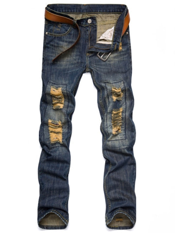 Men's Fashion Jeans Mid Waist Worn Hole Slim Fit