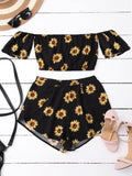 Off Shoulder Crop Top and Sunflower ShortsOff Shoulder Crop Top and Sunflower Shorts