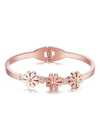 Cheap Daisy Flowers with Zircon Titanium Steel Bangle