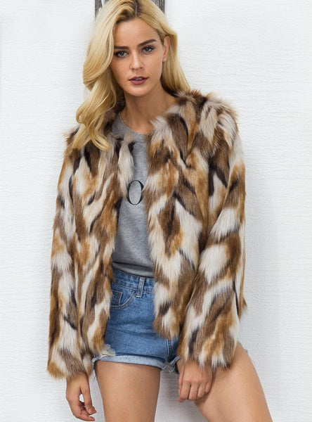 Women Fur Like Coat Women'S Mixed-Color Coat