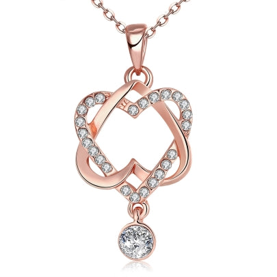 Cheap Hollow Double Heart-Shaped Diamante Necklace
