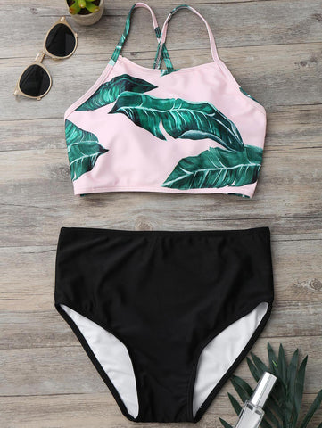 Back Strappy Leaf Print High Cut Bikini Set