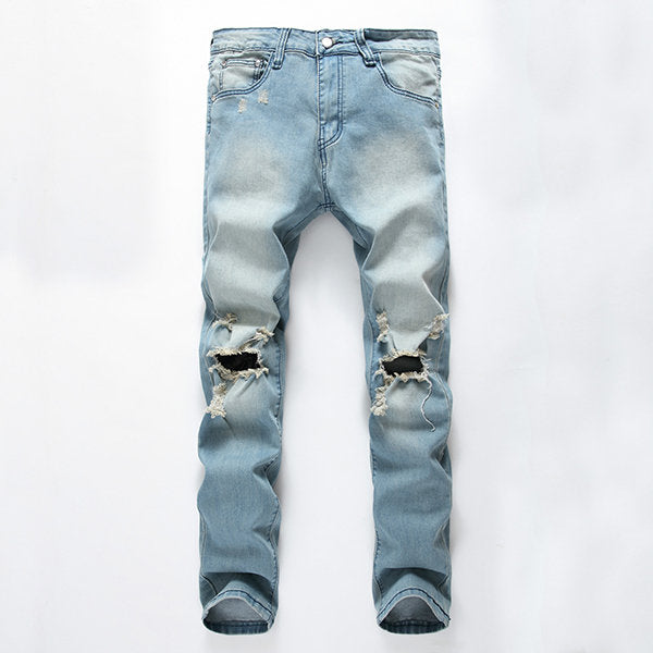 Washed Denim Ripped Jeans for Men Light Blue Worn Hole Printed Stone