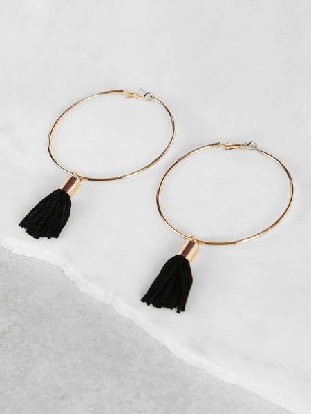 Fashion Tassel Accent Hoop Earrings BLACK