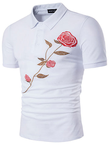 Cheap Polo Collar Embroidery Floral T-Shirts