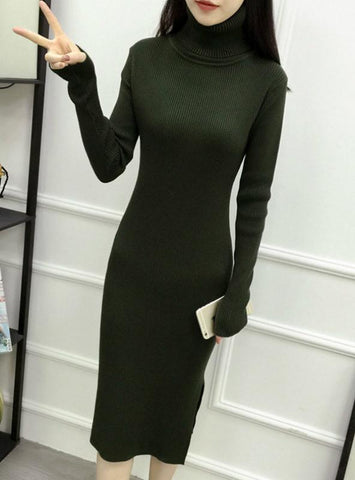 Turtleneck Ribbed Long Sleeve Knit Sweater Dress