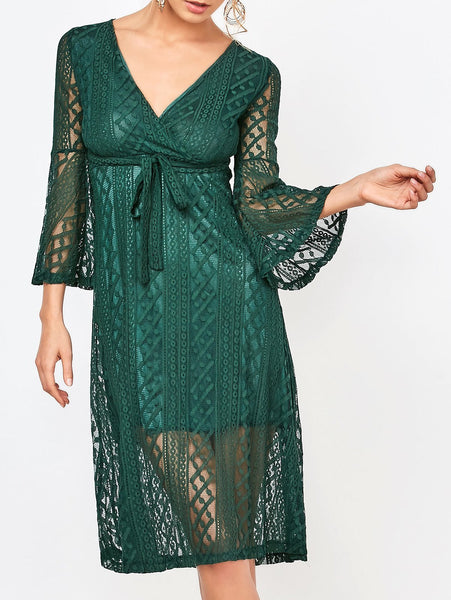 Empire Waist Surplice Lace Dress