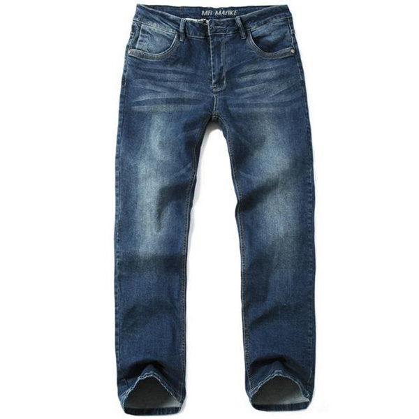 Straight Mid-Rise Denim Jeans For Men Casual Loose Fit Lightweight Leg