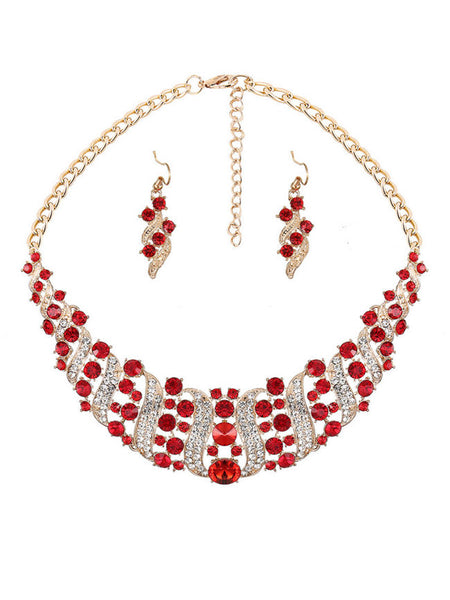 Fathion Luxury High Quality Crystal Necklace And Earring