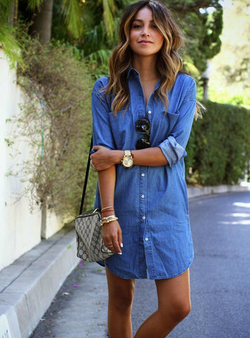 Denim Dresses Pockets Elegant Cowboy Slim Shirt Dress Jeans