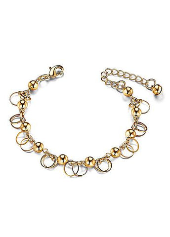 Wonderful Alloy Bracelet, Beads and Circles, Golden