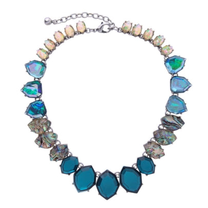 Cheap Blue Synthetic Stones Gradient All Match Necklace